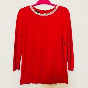 Talbots size L red knit pearl collar sweater